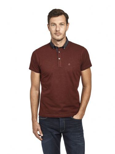 Mish Mash Men's Designer Wine Short Sleeve Button Down Check Collar Polo Shirt